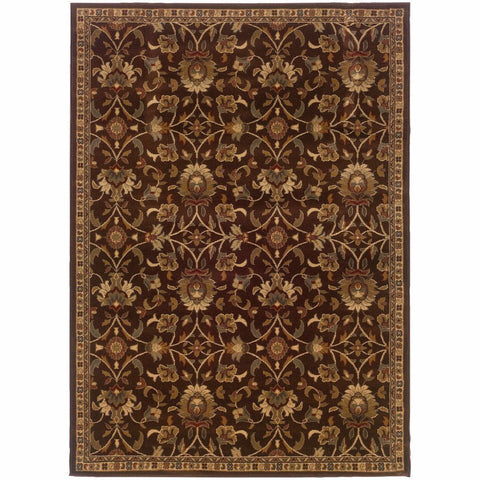 Amelia Brown Beige Floral  Transitional Rug