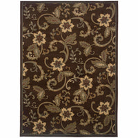 Amelia Brown Ivory Border  Transitional Rug - Free Shipping