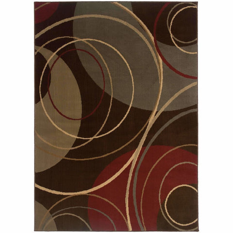 Amelia Brown Red Abstract Circles Contemporary Rug