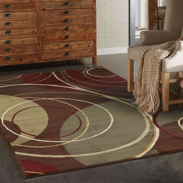Woven - Amelia Brown Red Abstract Circles Contemporary Rug
