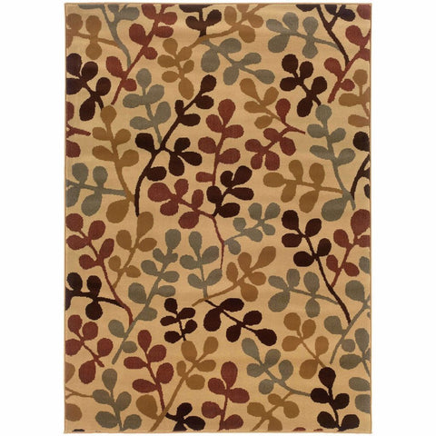Amelia Ivory Green Botanical  Transitional Rug