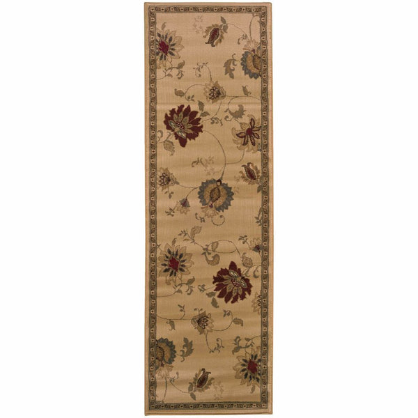 Amelia Ivory Green Floral  Transitional Rug - Free Shipping