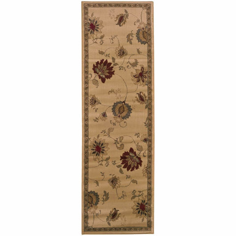 Amelia Ivory Green Floral  Transitional Rug