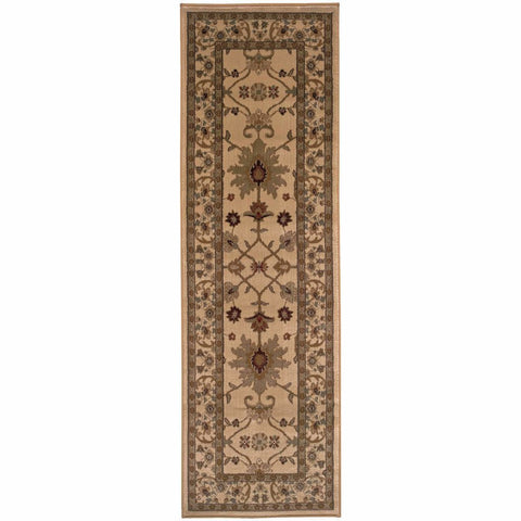Amelia Ivory Green Oriental Persian Traditional Rug