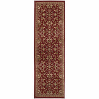 Amelia Red Ivory Floral  Transitional Rug - Free Shipping