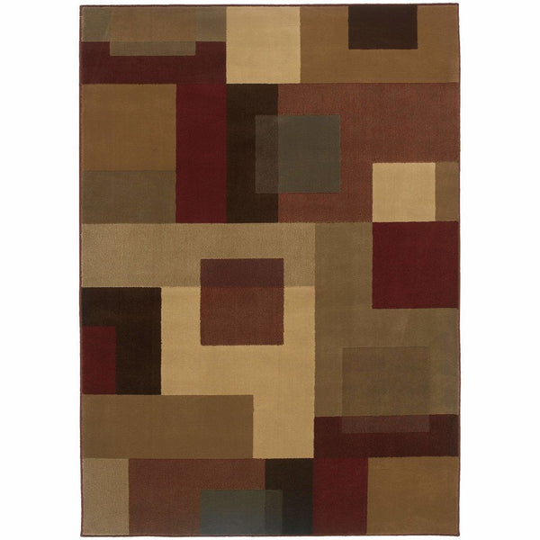 Amelia Red Tan Geometric  Transitional Rug - Free Shipping