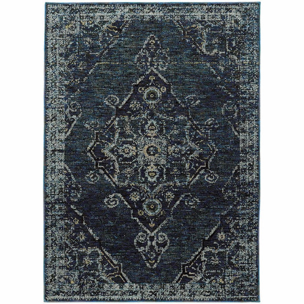 Andorra Blue Blue Oriental Medallion Traditional Rug - Free Shipping