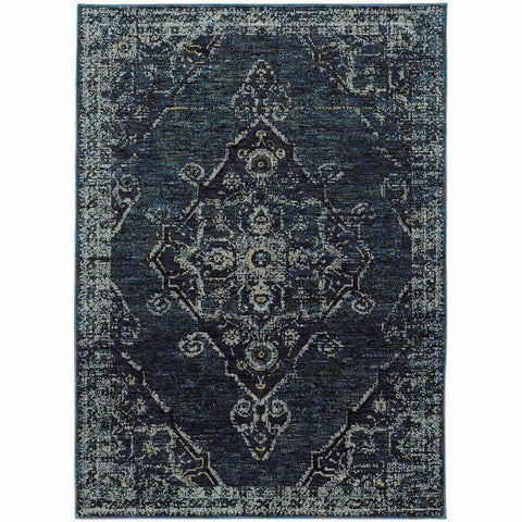 Andorra Blue Blue Oriental Medallion Traditional Rug