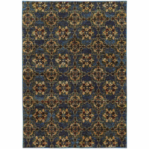 Andorra Blue Gold Oriental Medallion Traditional Rug