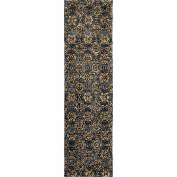 Woven - Andorra Blue Gold Oriental Medallion Traditional Rug