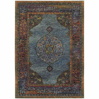 Andorra Blue Multi Oriental Medallion Traditional Rug - Free Shipping
