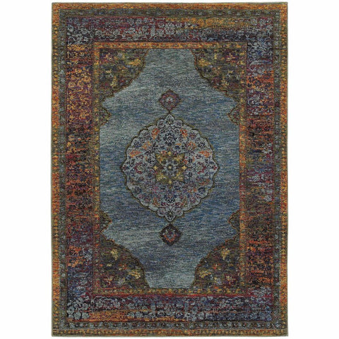 Andorra Blue Multi Oriental Medallion Traditional Rug