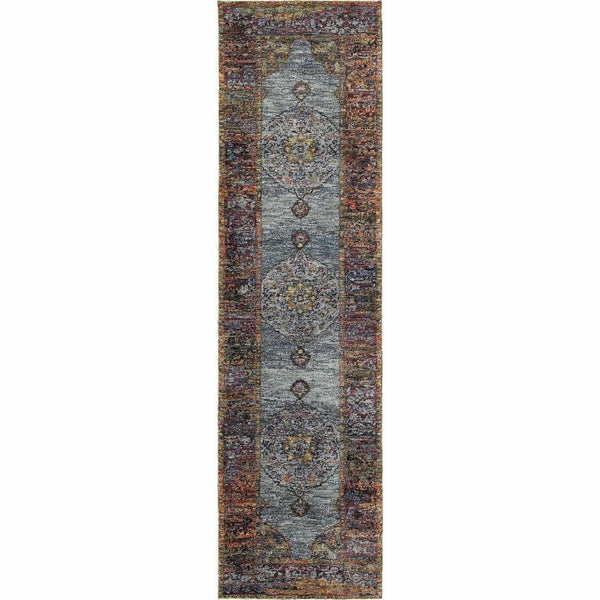Woven - Andorra Blue Multi Oriental Medallion Traditional Rug
