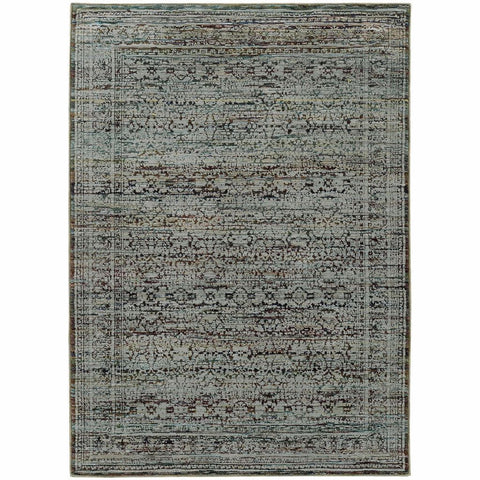 Andorra Blue Purple Oriental Distressed Traditional Rug