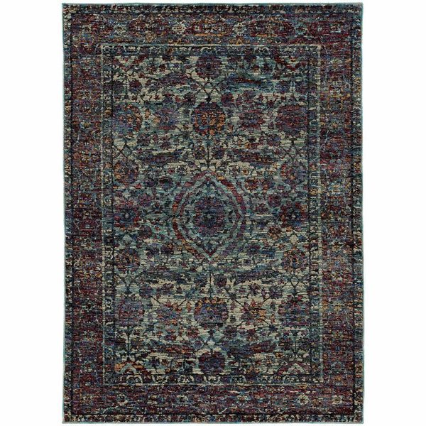 Andorra Blue Purple Oriental Distressed Traditional Rug - Free Shipping