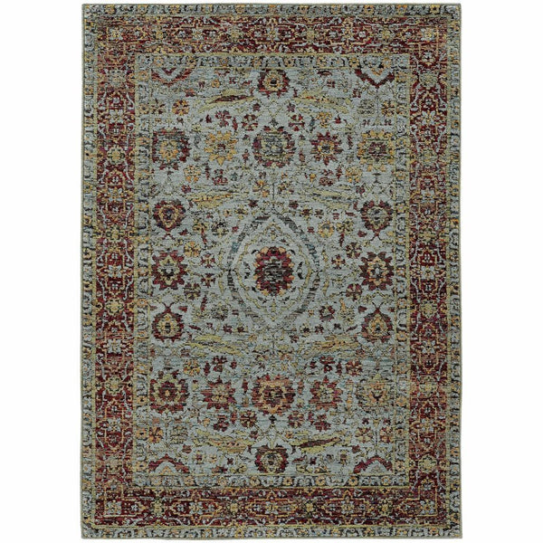 Andorra Blue Red Oriental Persian Traditional Rug - Free Shipping