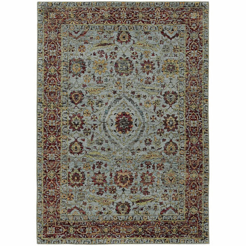 Andorra Blue Red Oriental Persian Traditional Rug