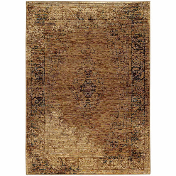 Andorra Gold Brown Oriental Distressed Traditional Rug - Free Shipping
