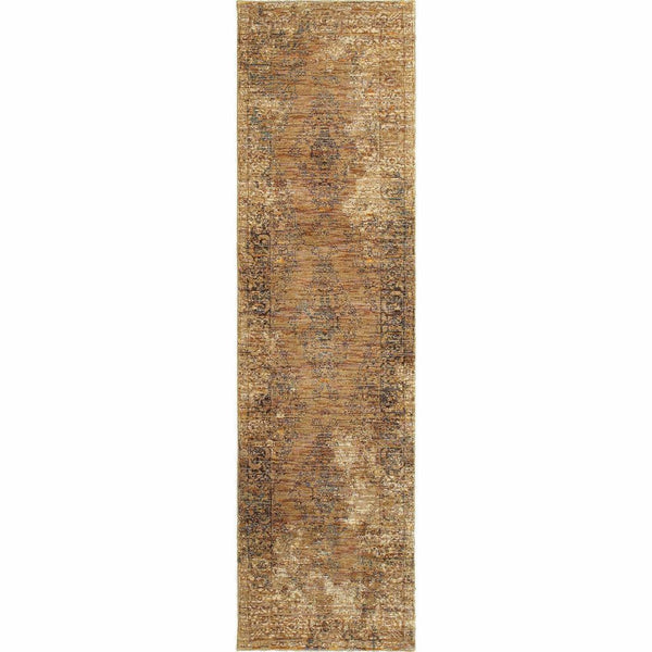 Woven - Andorra Gold Brown Oriental Distressed Traditional Rug
