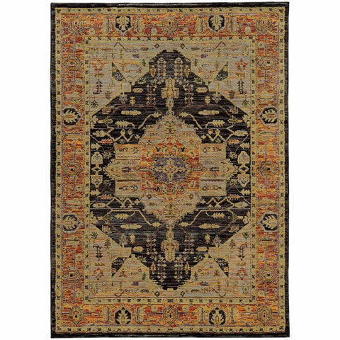 Andorra Gold Grey Oriental Medallion Traditional Rug