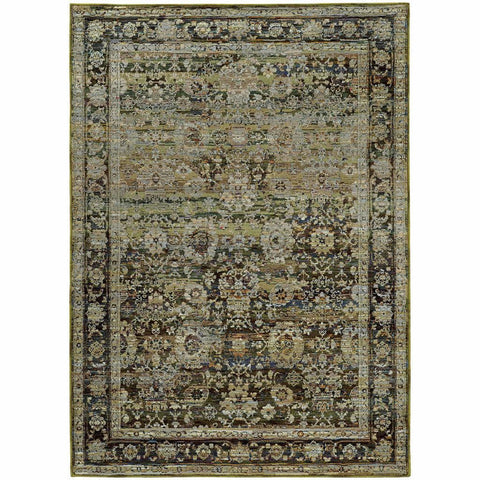 Andorra Green Brown Oriental Distressed Traditional Rug