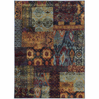 Andorra Multi Blue Abstract Ikat Transitional Rug - Free Shipping