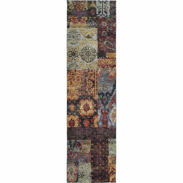 Woven - Andorra Multi Blue Abstract Ikat Transitional Rug