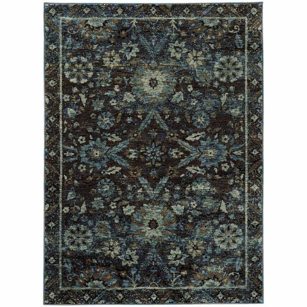 Andorra Navy Blue Oriental Overdyed Traditional Rug - Free Shipping