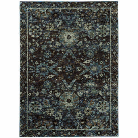 Oriental Weavers Andorra Navy Blue Oriental Overdyed Traditional Rug