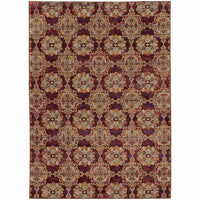 Andorra Red Gold Oriental Medallion Traditional Rug - Free Shipping