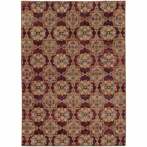 Oriental Weavers Andorra Red Gold Oriental Medallion Traditional Rug