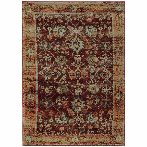 Andorra Red Gold Oriental Persian Traditional Rug - Free Shipping