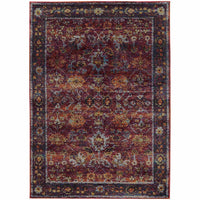 Andorra Red Purple Oriental Oriental Traditional Rug - Free Shipping