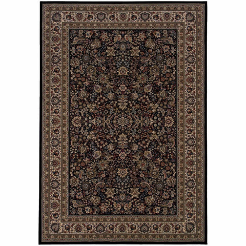 Ariana Black Ivory Oriental Traditional Traditional Rug