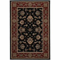Ariana Black Red Floral  Traditional Rug - Free Shipping