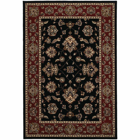 Ariana Black Red Floral  Traditional Rug