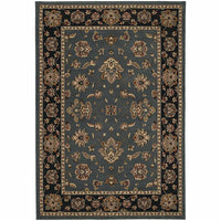 Ariana Blue Black Floral  Traditional Rug - Free Shipping