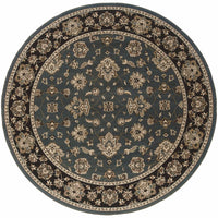 Woven - Ariana Blue Black Floral  Traditional Rug