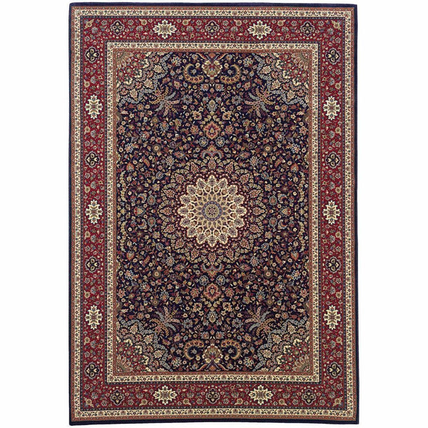 Ariana Blue Red Oriental Traditional Traditional Rug - Free Shipping
