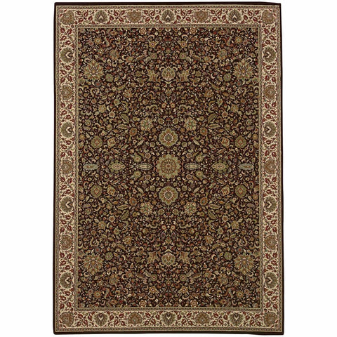 Ariana Brown Ivory Oriental Traditional Traditional Rug