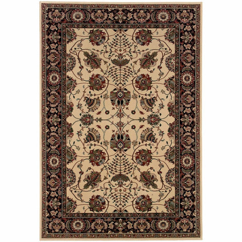 Ariana Ivory Black Floral  Traditional Rug