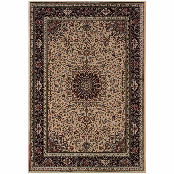 Ariana Ivory Black Oriental Traditional Traditional Rug - Free Shipping