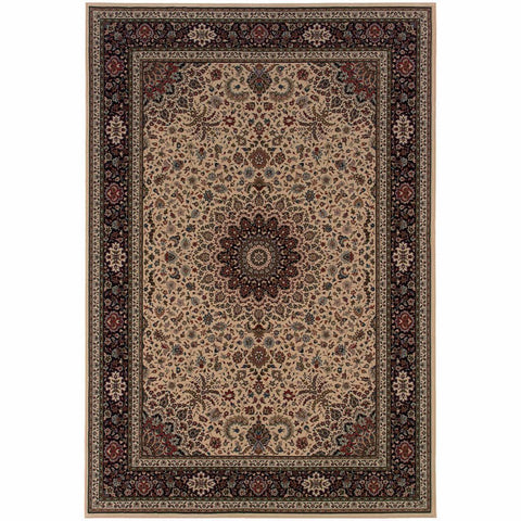 Ariana Ivory Black Oriental Traditional Traditional Rug