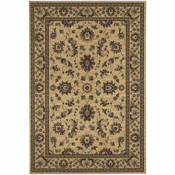 Ariana Ivory Green Oriental Traditional Traditional Rug - Free Shipping