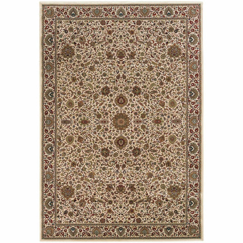 Ariana Ivory Green Oriental Traditional Traditional Rug