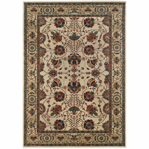 Ariana Ivory Red Floral  Traditional Rug