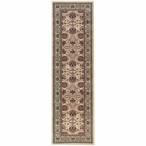 Woven - Ariana Ivory Red Floral  Traditional Rug