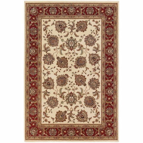 Ariana Ivory Red Oriental Traditional Traditional Rug