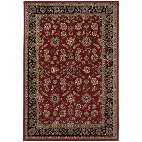 Oriental Weavers Ariana Red Black Oriental Traditional Traditional Rug