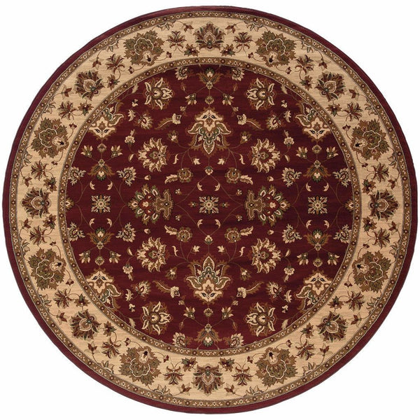 Ariana Red Ivory Floral  Traditional Rug - Free Shipping
